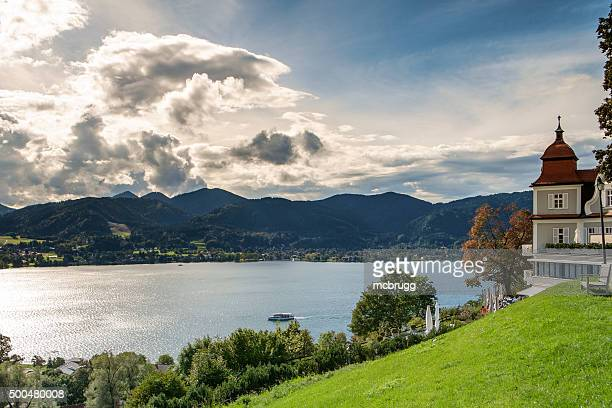 view over the tegernsee - tegernsee stock pictures, royalty-free photos & images