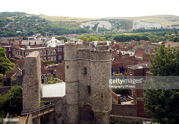 View over the town from Lewes Castle East Sussex England