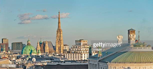 View over the viennese Inner City St Stephen´s Cathedral in the center Photograph by Gerhard Trumler 2015