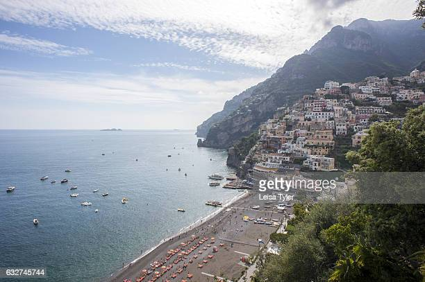 A view over the village of Positano from the Path of the Gods a hiking trail on the Amalfi coast that is said to run so close to heaven that it is in...