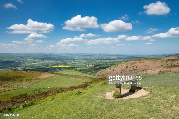 view over the welsh countryside on a beautiful spring day - nuvens fofas imagens e fotografias de stock