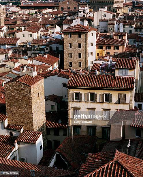 view over tiled rooftops from the campanile - yeowell stock pictures, royalty-free photos & images
