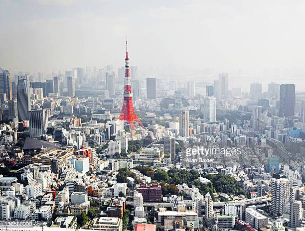 view over tokyo with tokyo tower - tokio stock-fotos und bilder