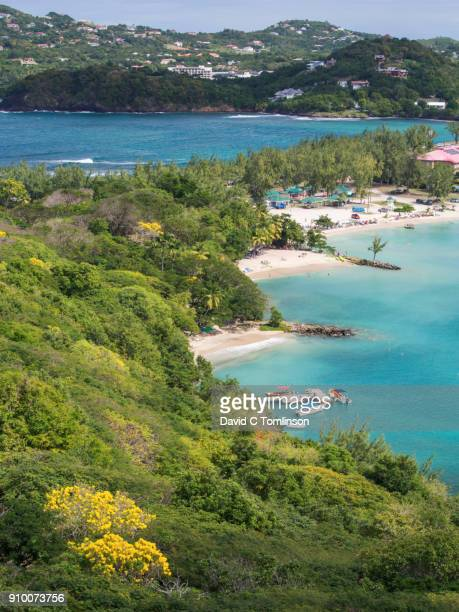 View over verdant hillside above Rodney Bay from the ruins of Fort Rodney, Pigeon Island National Landmark, Gros Islet, St Lucia