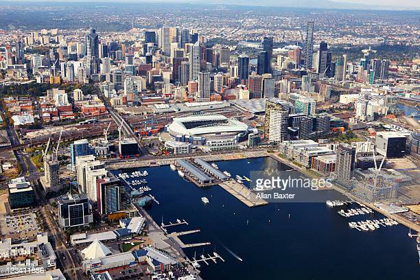 view over victoria harbour and telstra dome - docklands stadium melbourne stock pictures, royalty-free photos & images