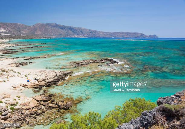 View over Vroulia Bay to distant Cape Krios, Elafonisi, Crete, Greece