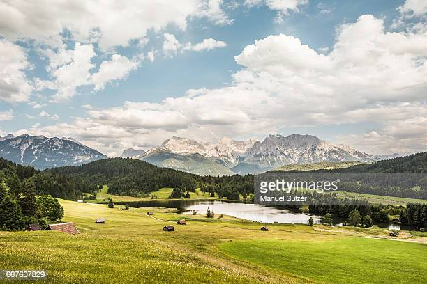 View over Wagenbruchsee into Karwendel mountain range, Gerold, Bavaria, Germany