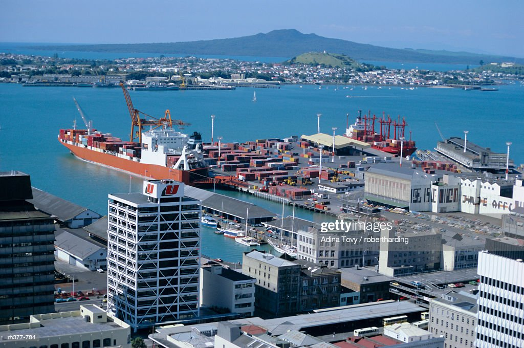 """View over waterfront, Auckland, Central Auckland, North Island, New Zealand, Pacific"" : Stockfoto"
