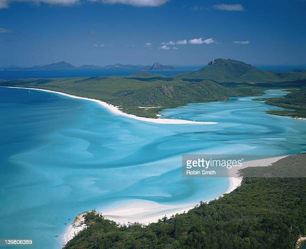 View over Whitehaven Beach & Hill Inlet,Whitsunday Passage,GBR,Qld(dent)