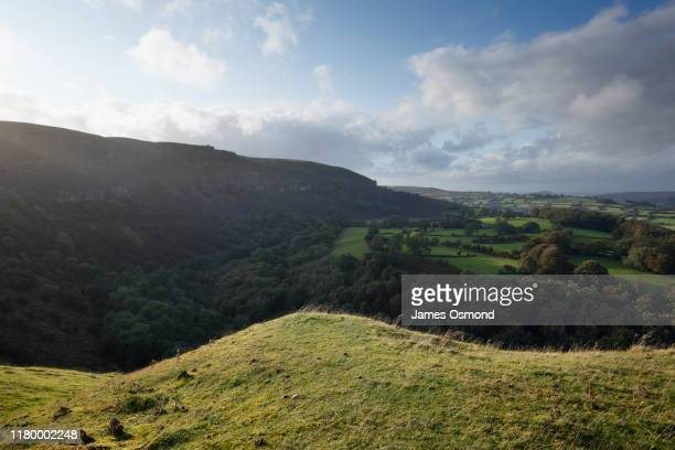 view over woodland and fields from the llangattock escarpment. - rural scene stock pictures, royalty-free photos & images