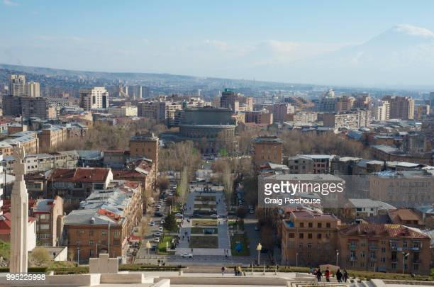 view over yerevan from the cascade, with mt ararat behind. - エレバン ストックフォトと画像