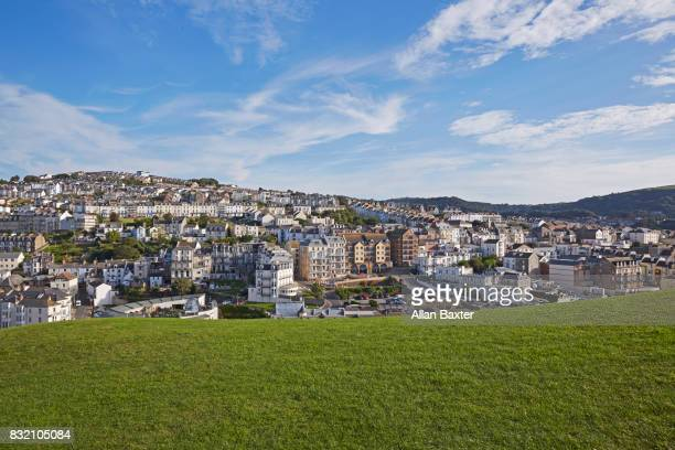 view overlooking ilfracombe with greenery - ilfracombe stock photos and pictures
