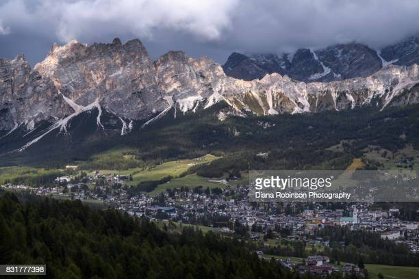 View overlooking the town of Cortina d'Ampezzo and the Pomagagnon group of the Dolomites, Italy