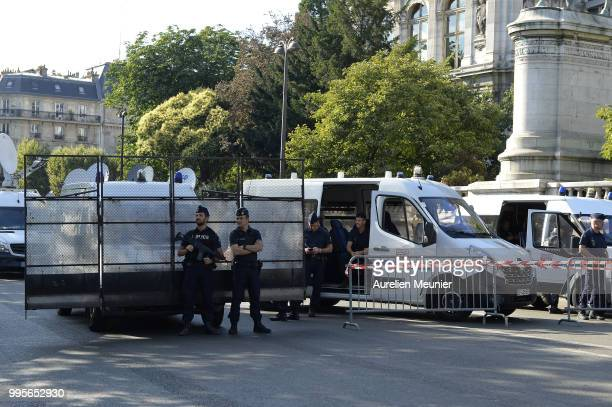 A view Paris City Hall pretected by riot police before France qualify for the final of the 2018 FIFA World Cup after their victory over Belgium 10 on...