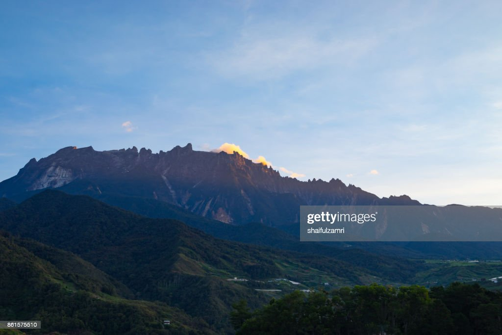 View part of Mount Kinabalu from Kundasang village, Sabah. The highest mountain in Malaysia with elevation is 4095m and it famous among tourist. : Stock Photo