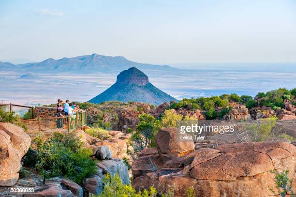 View point at Camdeboo National Park a wilderness area with unusual rock formations outside of GraaffReinet in South Africa