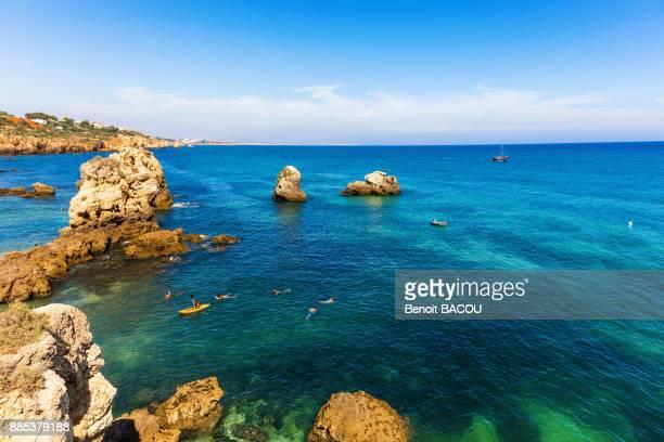 view praia arrifes region of algarve, portugal - albufeira stock photos and pictures