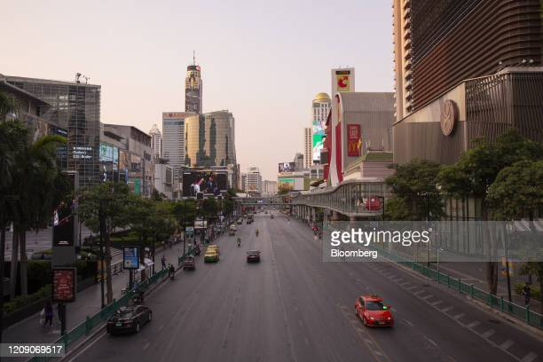 View Ratchadamri Road ahead of a temporary curfew imposed due to the coronavirus in Bangkok, Thailand, on Friday, April 3, 2020. The Thai government...