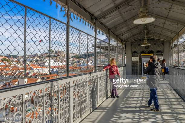 View Santa Justa Elevator, Elevator 'platform', Rua do Ouro, Lisbon, PortugalÊ, Aussichtsplattform, Aufzug «Elevador de Santa Justa«, Lissabon,...