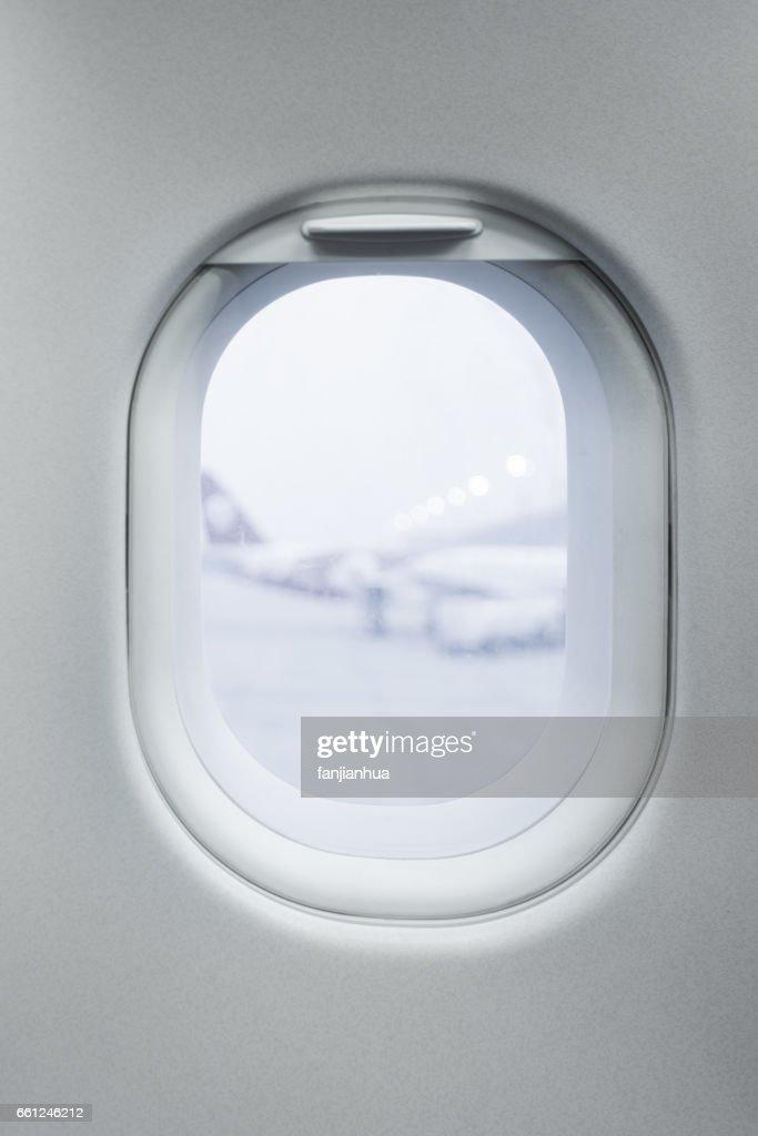 View seen through  airplane window : Stock-Foto