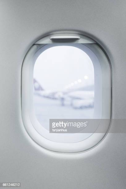 View seen through  airplane window