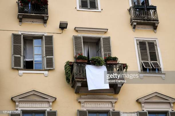 View show a white sheet on a balcony on the occasion of the 28th anniversary of the Capaci bombing . The Capaci bombing was a terror attack by the...