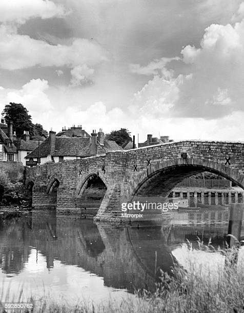 View showing an old bridge crossing the river Medway in the village of Aylesford Kent Circa 1935