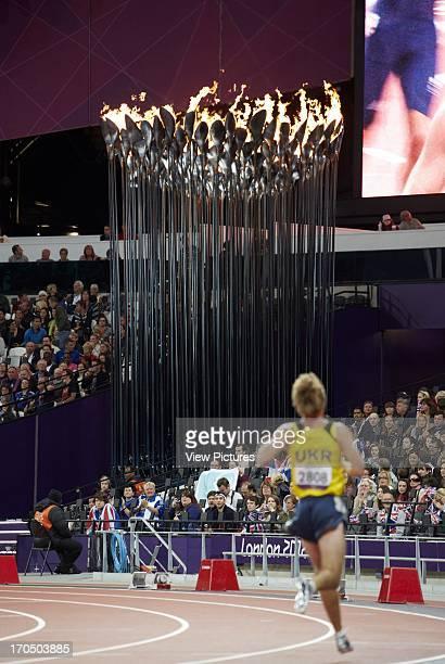 View showing cauldron with Paralympic athletes Olympic Cauldron Art Installation Europe United Kingdom Heatherwick Studio