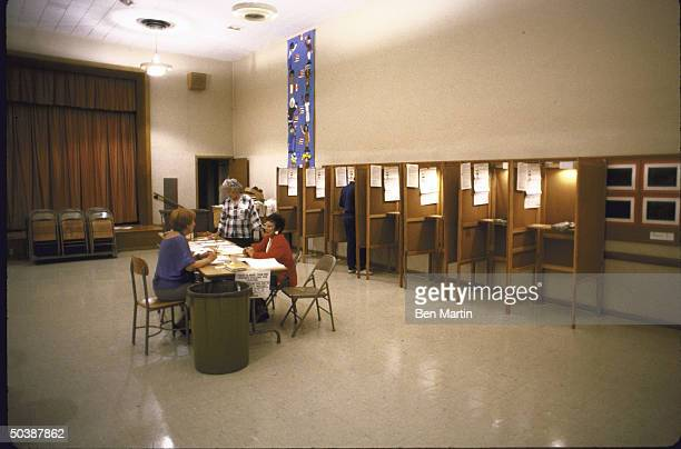 View showing empty voting booths during the Senate Elections.