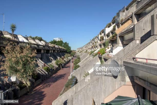 View showing internal street and ziggurat balconies, Alexandra Road Estate. Alexandra Road Estate, Camden, United Kingdom. Architect: Neave Brown,...