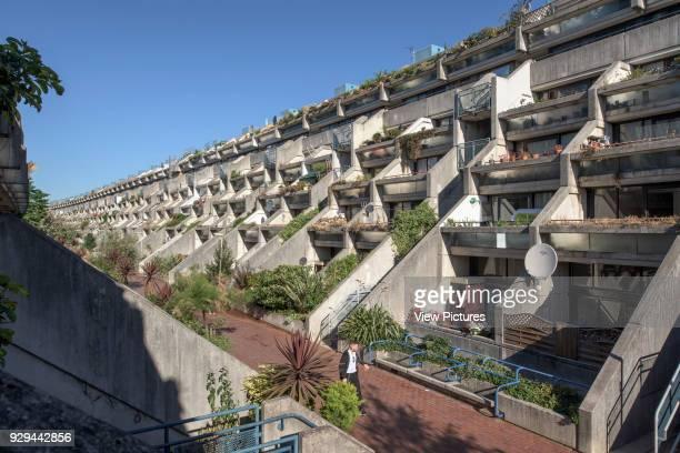 View showing internal street and ziggurat balconies Alexandra Road Estate Alexandra Road Estate Camden United Kingdom Architect Neave Brown 1979