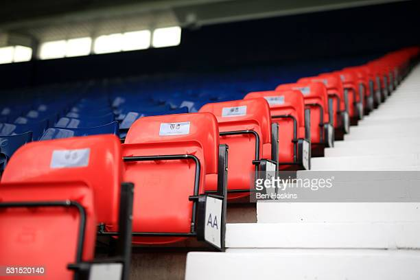 View showing the 96 red seats installed in the ground to remember the victims of the Hillsborough disaster prior to the Barclays Premier League match...