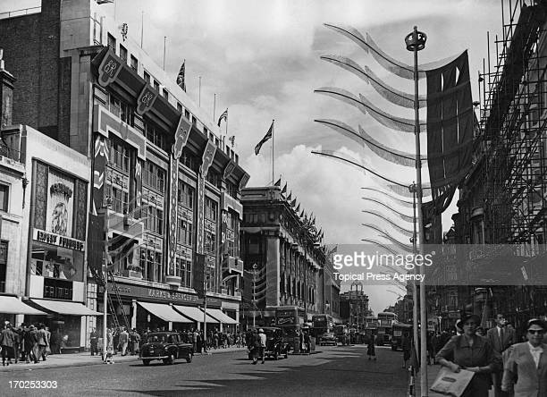 A view showing the Coronation decorations on Oxford Street London 21st May 1953