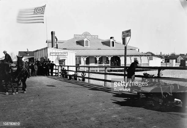 View showing the office of the Captain of the Port and the Hygeia Dining Saloon in the vicinity of the wharf Fort Monroe VA 1864