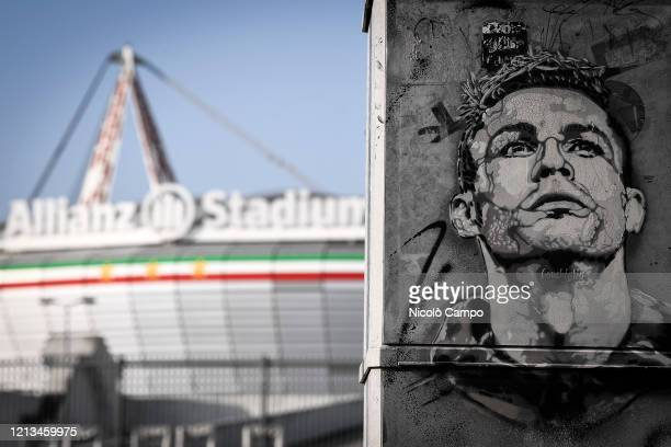 A view shows a mural of Cristiano Ronaldo outside of Allianz Stadium Serie A plans to resume its season on 13 June subject to government approval...