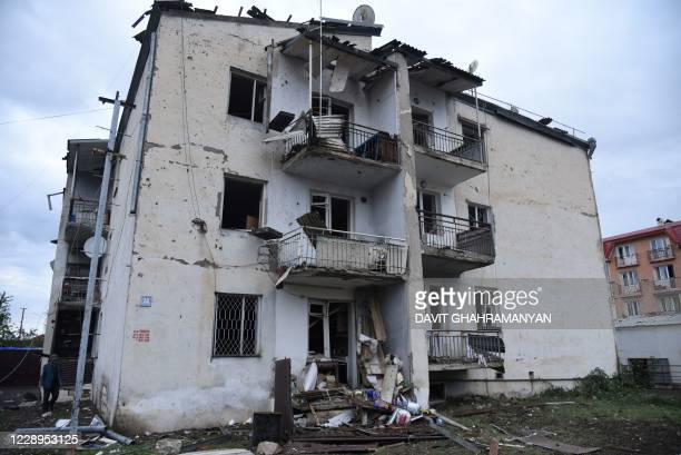 View shows aftermath of recent shelling during the ongoing conflict between Armenia and Azerbaijan over the breakaway Nagorno-Karabakh region, in the...