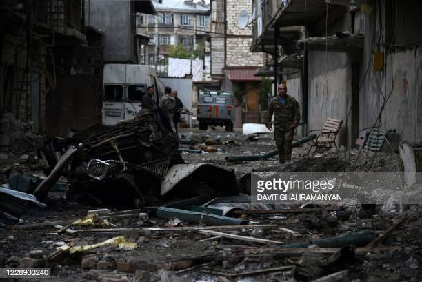 View shows aftermath of recent shelling during the ongoing fighting between Armenia and Azerbaijan over the breakaway Nagorno-Karabakh region, in the...