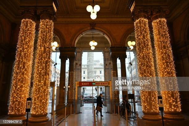 View shows Christmas decorations in the Galleria Alberto-Sordi in downtown Rome on December 4 during the government's restriction measures to curb...