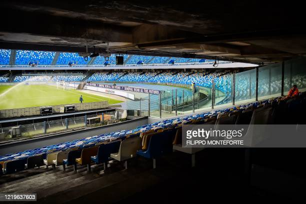 A view shows empty tribunes prior to the Italian Cup semifinal second leg football match Napoli vs Inter Milan on June 13 2020 at the San Paolo...