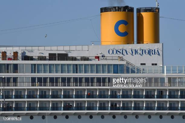 View shows Italy's Costa Cruises ship Costa Victoria after docking at the port of Civitavecchia, some 70 kms northwest of Rome, on March 25, 2020. -...