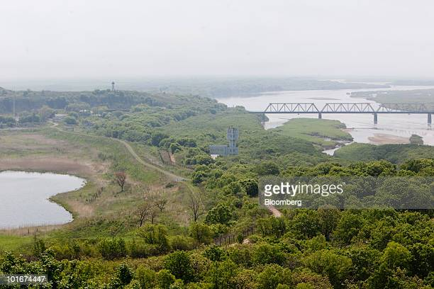 A view shows Russia left North Korea right and China bottom from Fangchuan Jilin province China on Saturday June 5 2010 North Korea criticized South...
