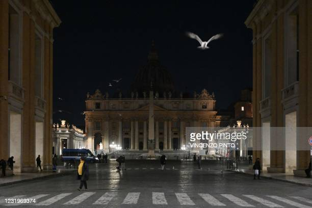 View shows St. Peter's Basilica in The Vatican on March 27, 2021 after the lights were turned off for Earth Hour.