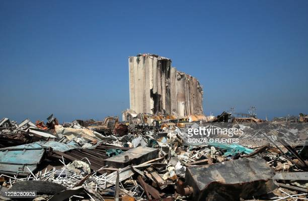 View shows the damaged site and grain silo following the massive August 4 blast in Beirut's port area, in Beirut on August 31, 2020. - Lebanon was to...
