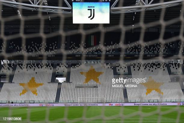 View shows the empty stadium prior to the Italian Cup semi-final second leg football match Juventus vs AC Milan on June 12, 2020 at the Allianz...