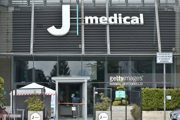 """View shows the entrance of Juventus' so-called """"J medical"""" medical center at the Juventus stadium in Turin on May 5 during the country's lockdown..."""