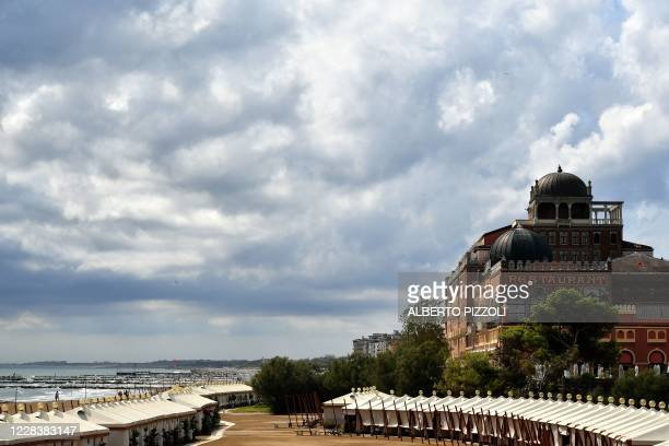View shows the Excelsior Hotel and ist beach on a cloudy sixth day of the 77th Venice Film Festival, on September 7, 2020 at Venice Lido, during the...