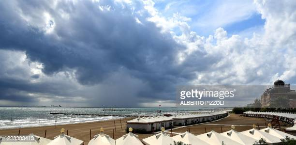 View shows the Excelsior Hotel and the beach on a cloudy sixth day of the 77th Venice Film Festival, on September 7, 2020 at Venice Lido, during the...
