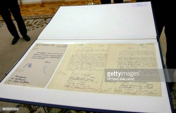 View shows the historic document called Lithuania's birth certificate taken on January 17 2018 in Vilnius during a handingover ceremony launching the...