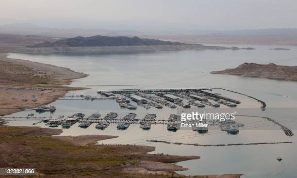 View shows the Lake Mead Marina in Boulder Basin on June 15, 2021 in the Lake Mead National Recreation Area, Nevada. Last week, The U.S. Bureau of...