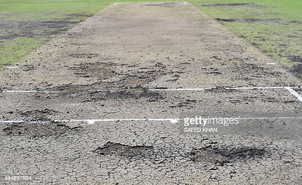 A view shows the pitch used during New Zealand's tour match against Cricket Australia XI after the game was abandoned at Blacktown Sports Park in...